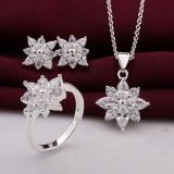 Set bijuterii placat argint 925 inel cercei pandantiv+lant