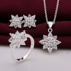 Set bijuterii placat argint 925 inel cercei pandantiv+lant - Set bijuterii argint