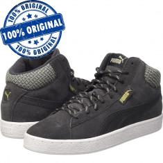 Pantofi sport Puma 1948 Mid Twill pentru barbati - adidasi originali - piele - Adidasi barbati Puma, Marime: 44, 46, Culoare: Negru, Piele intoarsa