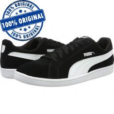 Pantofi sport Puma Smash pentru barbati - adidasi originali - piele intoarsa - Adidasi barbati Puma, Marime: 42.5, 43, 44, Culoare: Negru