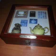 Tea box-cutie lemn pentru ceai cu ornamente handmade in relief, 6 casete