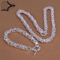 Set bijuterii placat argint 925 bratara si lantisor colier fresh - Set bijuterii argint