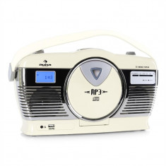 Radio portabil Retro Vintage Auna RCD-70 culoare crem - CD player
