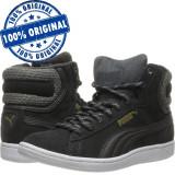 Pantofi sport Puma Vikky Mid Twill pentru femei - adidasi originali - piele, 37, 37.5, 38, Negru, Piele intoarsa