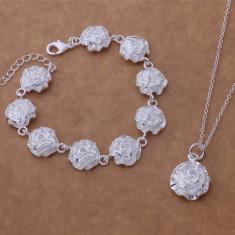 Set bijuterii placat argint 925 bratara si lantisor rose - Set bijuterii argint