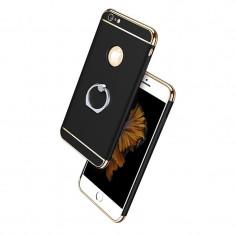 Husa telefon Iphone 6PLUS/6SPLUS ofera protectie 3in1 Ultrasubtire (Ring) -Black, iPhone 6 Plus, Negru, Plastic