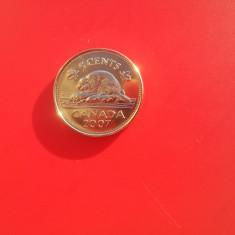 5 cents 2007-CANADA-UNC-luciu de batere, America de Nord