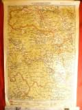 Harta Regiunii Piatra Neamt- Falticeni , litografie 1928 , scara 1:300 000