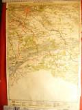 Harta Regiunii  Bucuresti- Giurgiu , litografie 1928 , scara 1:300 000
