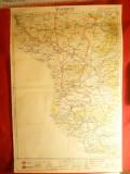 Harta Regiunii Oravita -litografie 1928 ,scara 1:300 000 ,long. 39-45 grd