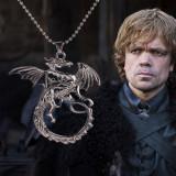 Colier Game of Thrones Targaryen Dragon Chain medalion pandantiv cu lantisor