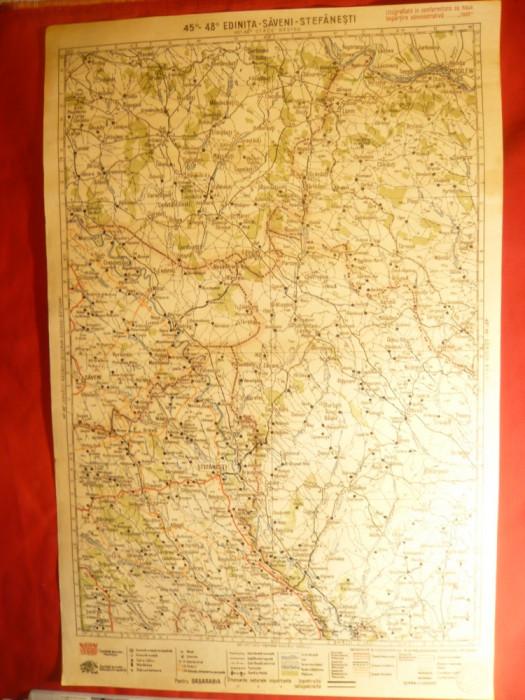 Harta Regiunii Edinita- Saveni- Stefanesti ,litografie 1928 ,long.45-48 grd
