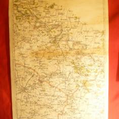 Harta Regiunii Soroca - Balti -litografie 1928 scara 1:300 000 long.46-48 grd