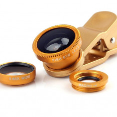 Kit Lentile Foto iUni 3-in-1 Macro, Wide Angle si FishEye compatibile cu Smartphone si Tableta, Galben - Accesoriu Curatare Aparate Foto