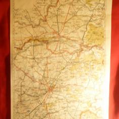 Harta zonei Timisoara- Arad 1928 -Litografie-,dim.= 32x48 cm  long.39-46grd.