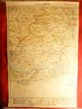 Harta Regiunii Craiova 1928 Litografie , longit. 41-44 grd. dim.= 32x48 cm