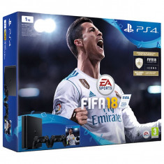 Consola SONY PlayStation 4 Slim (PS4 Slim) 1 TB, negru + FIFA 18 +DUALSHOCK 4 V2 Controler