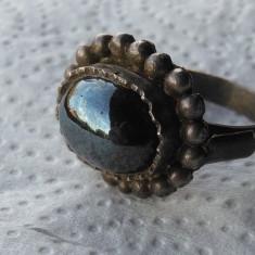 Inel argint TRIBAL vechi cu OBSIDIAN masiv SPLENDID vintage SUPERB de Efect RAR