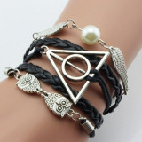 Bratara Harry Potter - Golden Snitch , Owl , Triangle Talismanele Mortii