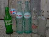 LOT 6 STICLE VECHI DE SUC ȘI SIROP - PEPSI, PEPSI COLA, MARKA, ETC. ANII 1970!