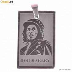 Pandantiv Medalion Bob Marley Rasta Inox 2 + lant Inox - Pandantiv fashion