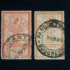 Romania, 1903 LP. 56f, 56g Effigii val. 2lei + eroare culoare stampilate, Stampilat