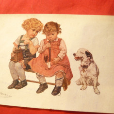 Ilustrata comica - Copii imita adultii -cu Pipa si cu rasnita de zahar ,semnat