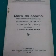 DARE DE SEAMĂ ASUPRA ACTIVITĂȚII CULTURALE ȘI EXTRAȘCOLARE DIN CÂMPINA 1927-1928 - Carte veche