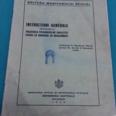 INSTRUCȚIUNI GENERALE *FOLOSIREA PROGRAMELOR LA EXAMENUL DE BACALAUREAT*1936 - Carte veche