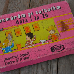 NUMĂRĂM ȘI CALCULĂM DE LA 1 LA 20 - JOC EDUCATIV - ANII 1970 - RAR - COMPLET! - Jucarie de colectie
