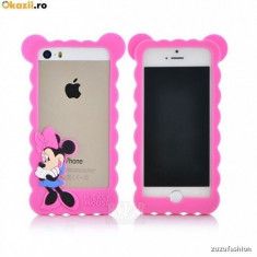 Bumper Husa iphone 5 / 5 s mickey mouse - Bumper Telefon Apple, Roz