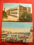 2 Ilustrate Malta- color- Grand Harbour si Palat Floriana 1918, Circulata, Fotografie