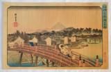 "Utagawa Hiroshige ""Ploaie la Nihonbashi"" xilogravura veche, Peisaje, Cerneala, Altul"