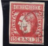 ROMANIA 1869  LP 27 CAROL I  FAVORITI   VAL. 15  BANI  ROSU  POINCON L. PASCANU, Stampilat