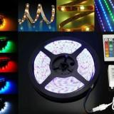 Kit complet Banda RGB led SMD 5050 cu telecomanda de 5m lungime - Banda LED