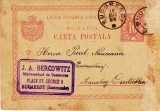 CARTE POSTALA BUCURESTI - GERMANIA ; STAMPILA J.A. BERCOWITZ ; lui  PAUL NAUMANN