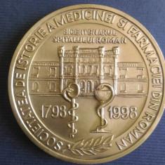 Medalia Bicentenarul Spitalului Roman 1798-1998, istoria medicinei si farmaciei - Jubiliare