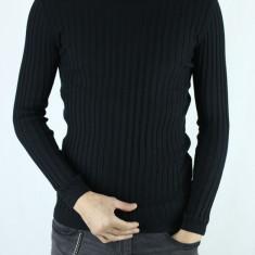 Bluza Barbati Pe Gat Maleta Barbati Pe Gat Neagra SlimFit Casual Helanca, Marime: M/L, L/XL, Culoare: Negru, Bumbac