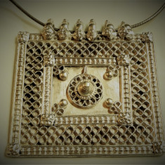 MEDALION argint RAJASTHAN INDIA etnic TRIBAL rar MASIV splendid pe Lant argint