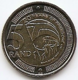 Africa de Sud 5 Rand 2014 -  (Freedom) Bimetalic,  26 mm, KM-New UNC !!!