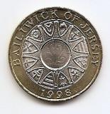Jersey 2 Pounds 1998 - Bimetalic, KM-102 UNC !!!, Europa
