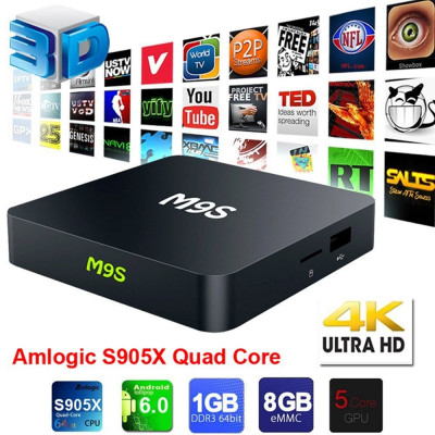 TV Box Android 6.0 2017 M9S 6.0 S905X Quad-Core 4K  Media Player foto
