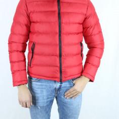 Geaca de Iarna Barbati Groasa Rosie de Fas Scurta cu Fermoar Slimfit fashion - Geaca barbati, Marime: S, M, Culoare: Rosu