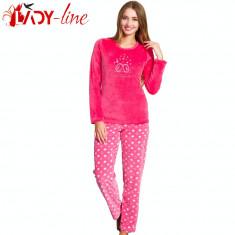 Pijama Dama Maneca/Pantalon Lung, Velur, Big Love, cod 1503