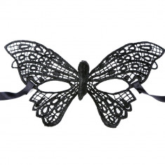 Mască din Dantelă Butterfly cu broderie neagra, Culoare: Negru