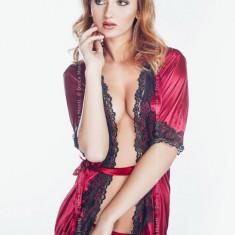 Halat Sexy din Satin Renata din satin si chiloti tanga din dantela - Halat dama, Culoare: Alb, Albastru, Negru, Marime: S, M, L, XL