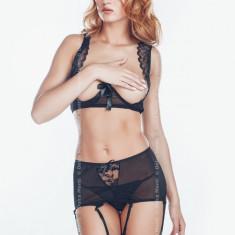 Set Sutien, Portjartier și Tanga Yasmine cu Dantela - Set lenjerie sexy, Marime: M, L, XL, Culoare: Negru