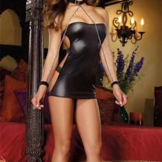 Rochie Sexy din Latex Wanda, Marime: Marime universala, Culoare: Negru