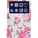 Husa IPhone 5C flip florală, Alb, Piele Ecologica