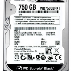 HDD laptop Western Digital 750GB, WD BLACK, 7200rpm, 16MB, ULTRARAPID 4, 2ms. IMPECABIL !!!, 500-999 GB, SATA2